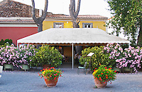 Restaurant Chez Philippe. The terrasse. Marseillan. Languedoc. France. Europe.