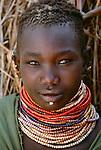Bumi girl portrait, Murle Region, Ethiopia