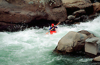 Whitewater kayaking on the Wenatchee River. Leavenworth, Washington.