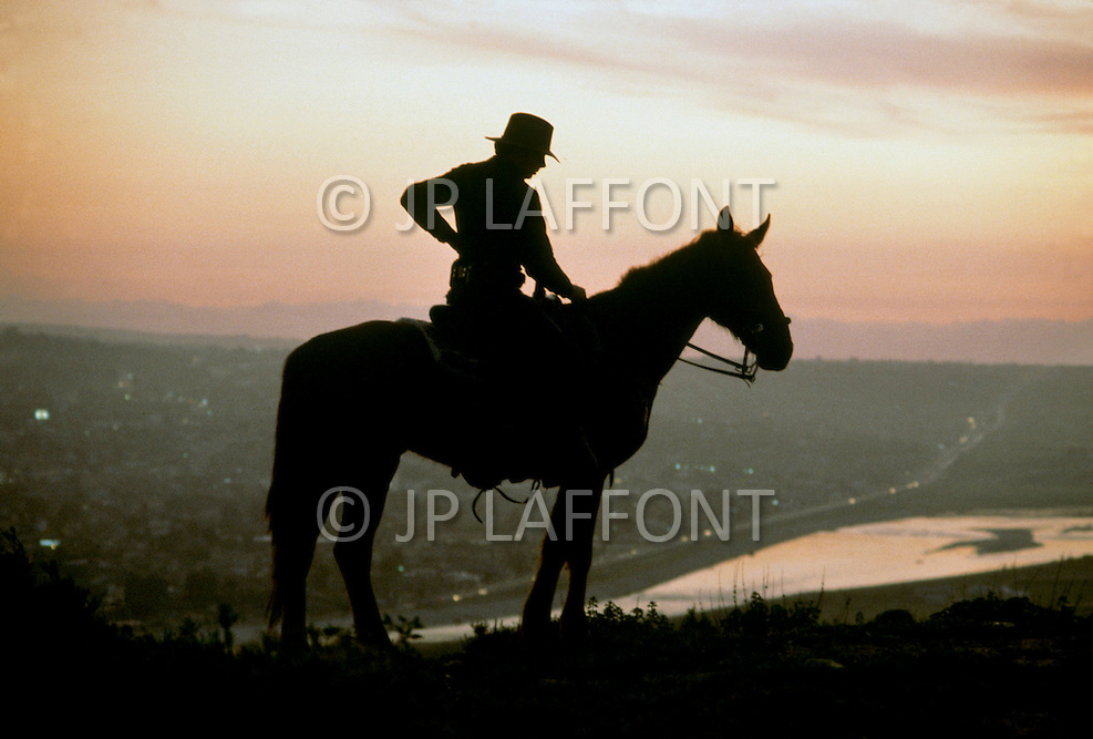 San Diego, CA. March 8th, 1983.<br /> South of San Diego, the border patrol have sophisticated equipment to spot illegal immigrants, including night vision scopes, helicopters and horse for fast action in difficult terrain.