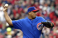 03 April 2006: Chicago Cubs' Carlos Zambrano pitches against the Cincinnati Red's during the Reds' home opener at Great American Ballpark in Cincinnati, Ohio.<br />