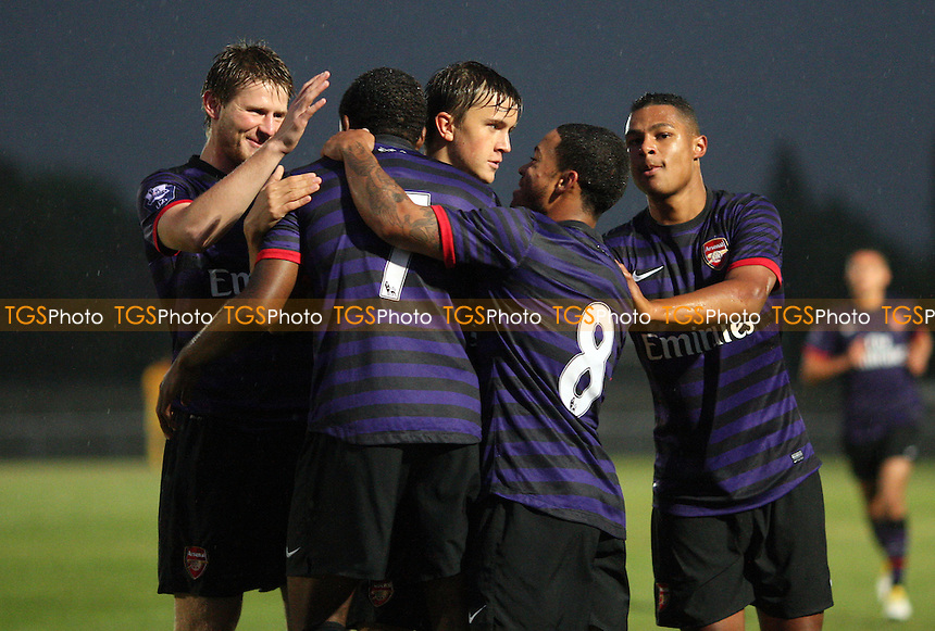 Kyle Ebecilio celebrates after scoring the first goal for Arsenal - West Ham United Development Squad vs Arsenal Development Squad, Barclays Under-21 Premier League Group 1 at Rush Green Stadium, Rush Green - 21/09/12 - MANDATORY CREDIT: Rob Newell/TGSPHOTO - Self billing applies where appropriate - 0845 094 6026 - contact@tgsphoto.co.uk - NO UNPAID USE.