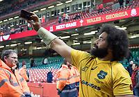 Australia's Tatafu Polota-Nau takes a selfie<br /> <br /> Photographer Simon King/CameraSport<br /> <br /> International Rugby Union - 2017 Under Armour Series Autumn Internationals - Wales v Australia - Saturday 11th November 2017 - Principality Stadium - Cardiff<br /> <br /> World Copyright &copy; 2017 CameraSport. All rights reserved. 43 Linden Ave. Countesthorpe. Leicester. England. LE8 5PG - Tel: +44 (0) 116 277 4147 - admin@camerasport.com - www.camerasport.com