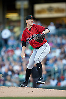 Indianapolis Indians starting pitcher Mitch Keller (18) in action against the Charlotte Knights at BB&T BallPark on April 27, 2019 in Charlotte, North Carolina. The Indians defeated the Knights 8-4. (Brian Westerholt/Four Seam Images)
