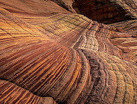Various hues and colors are produced through erosion of the sandstone layers at Sand Cove at North Coyote Buttes on the rizona/Utah border.