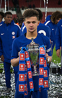 George McEachran of Chelsea U18 poses with the trophy during the FA Youth Cup FINAL 2nd leg match between Arsenal and Chelsea at the Emirates Stadium, London, England on 30 April 2018. Photo by Andy Rowland.