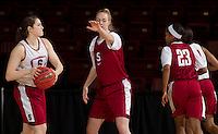 Stanford, CA., March 25, 2013,--  Sara James and Taylor Greenfield both with the Stanford women's basketball team workout during team practice Monday, March 25, 2013, for there second round NCAA 2013, basketball championship game against Michigan, at Maples Pavilion.  ( Norbert von der Groeben )