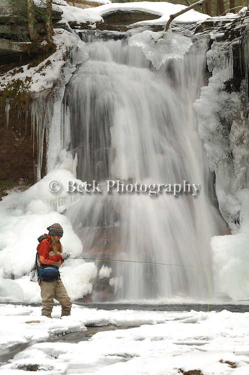 Annie Beck fly fishing in the winter in northeast PA