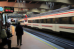 Trains and platform at Atocha railway station, Madrid, Spain