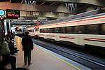 Trains and platform at Atocha railway station, Madrid, Spain