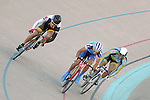 September 17, 2015 - Colorado Springs, Colorado, U.S. - UC-San Diego's, Todd Woodland (l), Fort Lewis College's, Emanuel Gagne (center), and Midwestern State's, Joshua Buchel (r), compete  in a points racing qualifier during the USA Cycling Collegiate Track National Championships, United States Olympic Training Center Velodrome, Colorado Springs, Colorado.