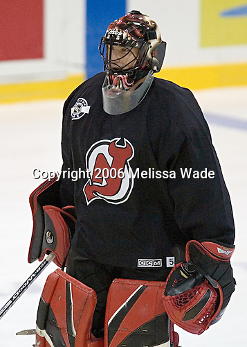 Scott Clemmensen, former Boston College Eagle who won the 2001 National Championship with fellow Devil Brian Gionta by defeating fellow Devil/former Fighting Sioux David Hale, is in camp without a contract due to cap issues.  Clemmensen was drafted by New Jersey in the eighth round in 1997. The New Jersey Devils and prospects took part in their second official on-ice day of training camp on Saturday, September 16, 2006 at the Richard E. Codey Rink at South Mountain in West Orange, New Jersey.<br />