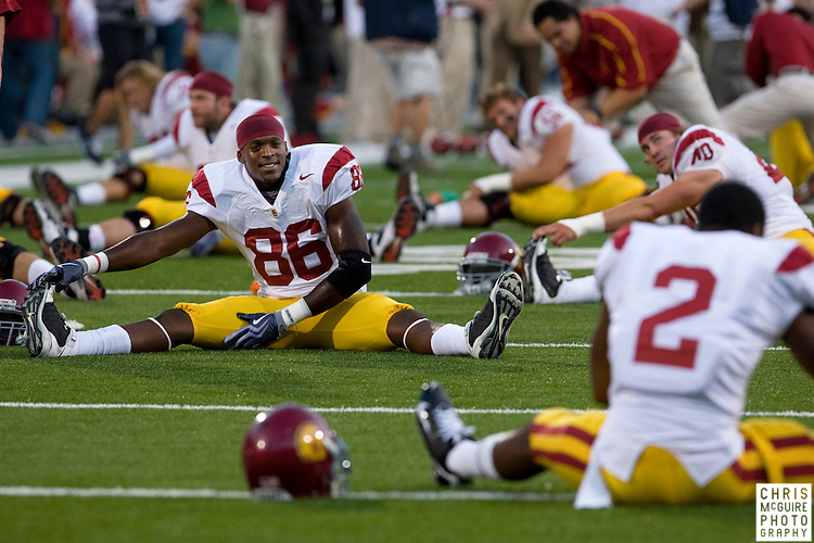 12 September 2009:  Football -- USC tight end Anthony McCoy stretches before their game against Ohio State at Ohio Stadium in Columbus.  USC won 18-15.  Photo by Christopher McGuire.