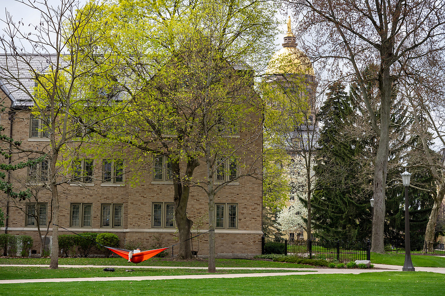 April 28, 2020; The North Quad with the Golden Dome. (Photo by Barbara Johnston/University of Notre Dame)