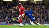 Charly Musonda of Chelsea battles Michael Mancienne of Notthingham Forest during the Carabao Cup (Football League cup) 23rd round match between Chelsea and Nottingham Forest at Stamford Bridge, London, England on 20 September 2017. Photo by Andy Rowland.