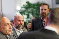 """Pictured L-R: Stefanos Rokos and Jim Sclavunos.  Wednesday 03 April 2019<br /> Re: Official opening of Stefanos Rokos' exhibition """"No More Shall We Part"""" with paintings based on the 2001 Nick Cave and The Bad Seeds album with the same title, Benaki Museum, Athens, Greece."""