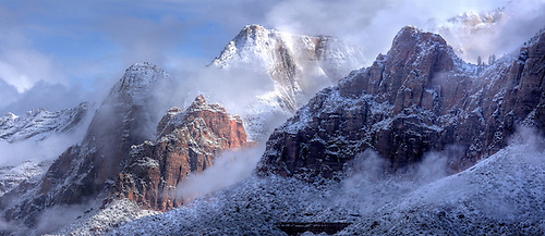A blanket of fresh snow highlight the winter landscape at Zion National Park, Utah