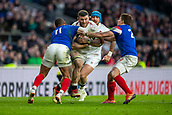 10th February 2019, Twickenham Stadium, London, England; Guinness Six Nations Rugby, England versus France; Mark Wilson of England is tackled by Gael Fickou and Antoine Dupont of France
