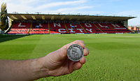 A close up of a commemorative coin, marking Remembrancetide, used for the pre-match coin toss<br /> <br /> Photographer Chris Vaughan/CameraSport<br /> <br /> Emirates FA Cup First Round - Lincoln City v Northampton Town - Saturday 10th November 2018 - Sincil Bank - Lincoln<br />  <br /> World Copyright © 2018 CameraSport. All rights reserved. 43 Linden Ave. Countesthorpe. Leicester. England. LE8 5PG - Tel: +44 (0) 116 277 4147 - admin@camerasport.com - www.camerasport.com