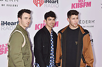 CARSON, CA - JUNE 01: (L-R) Kevin Jonas, Joe Jonas and Nick Jonas of The Jonas Brothers attend 2019 iHeartRadio Wango Tango at The Dignity Health Sports Park on June 01, 2019 in Carson, California.<br /> CAP/ROT/TM<br /> ©TM/ROT/Capital Pictures