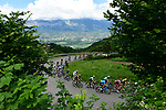 The peleton of 140 riders in action during Stage 5 of the 2018 Criterium du Dauphine 2018 running 130km from Grenoble to Valmorel, France. 8th June 2018.<br /> Picture: ASO/Alex Broadway | Cyclefile<br /> <br /> <br /> All photos usage must carry mandatory copyright credit (© Cyclefile | ASO/Alex Broadway)