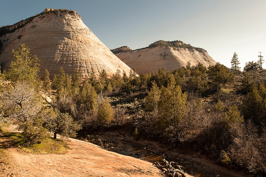 The sun sets on Checkerboard Mesa in Zion National Park.