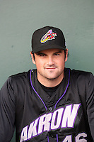 TJ McFarland #46 of the Akron Aeros poses before a game against the Harrisburg Senators at Metro Bank Park on June 10, 2011 in Harrisburg, Pennsylvania.   ..Photo By Bill Mitchell/Four Seam Images