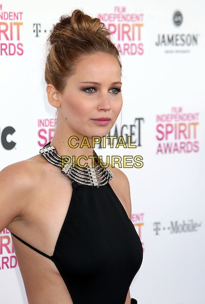 Jennifer Lawrence.2013 Film Independent Spirit Awards - Arrivals Held At Santa Monica Beach, Santa Monica, California, USA,.23rd February 2013..indy indie indies indys half length dress hair up bun silver black collar halterneck .CAP/ADM/RE.©Russ Elliot/AdMedia/Capital Pictures