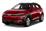 2019 Hyundai Kona EV Sky 5 Door SUV angular front stock photos of front three quarter view