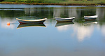 Three Dories at Rest in the Channel in Kennebunkport, Maine, USA