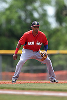 Boston Red Sox minor league third baseman Deiner Lopez (7) during an extended spring training game against the Tampa Bay Rays on April 16, 2014 at Charlotte Sports Park in Port Charlotte, Florida.  (Mike Janes/Four Seam Images)