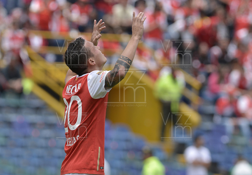 BOGOTÁ -COLOMBIA, 17-04-2016. Luis Manuel Seijas jugador de Santa Fe celebra después de anotar gol al Pasto durante partido entre Independiente Santa Fe y Deportivo Pasto por la fecha 13 de la Liga Aguila I 2016 jugado en el estadio Nemesio Camacho El Campin de la ciudad de Bogota.  / Luis Manuel Seijas player of Santa Fe celebrates after scoring a goal to Pasto during match between Independiente Santa Fe and Deportivo Pasto for date 13 of the Liga Aguila I 2016 played at the Nemesio Camacho El Campin Stadium in Bogota city. Photo: VizzorImage/ Gabriel Aponte / Staff