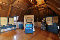 Exhibition about life in New France, first floor room in the Museum in the Manoir Boucher de Niverville, built in 1668 in French colonial style by Jacques LeNeuf de la Poterie, Governor of Trois-Rivieres, on the Rue Bonaventure in Trois-Rivieres, Mauricie, on the Chemin du Roi, Quebec, Canada. The Chemin du Roy or King's Highway is a historic road along the Saint Lawrence river built 1731-37, connecting communities between Quebec City and Montreal. Picture by Manuel Cohen