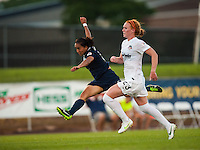 Sky Blue FC forward Monica Ocampo (8) follows thru on a shot. Sky Blue FC defeated the Washington Spirit 1-0 during a National Women's Soccer League (NWSL) match at Yurcak Field in Piscataway, NJ, on July 6, 2013.