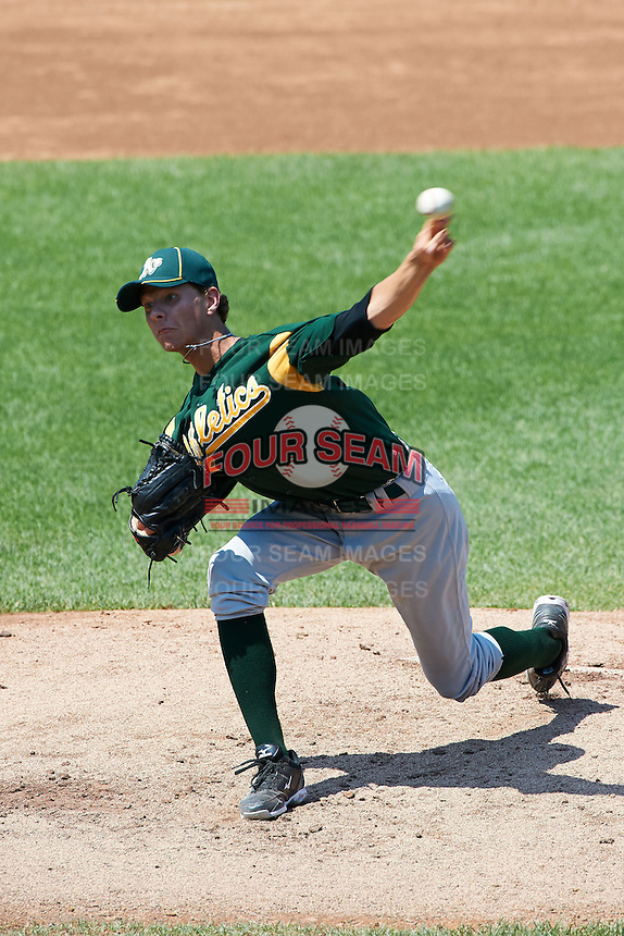 Hunter Green #32 of Warren East High School in Bowling Green, Kentucky playing for the Oakland Athletics scout team during the East Coast Pro Showcase at Alliance Bank Stadium on August 3, 2012 in Syracuse, New York.  (Mike Janes/Four Seam Images)