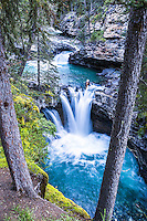 Johnston Canyon Waterfall.  Johnston Canyon is a beautiful slot canyon in Canada's Banff National Park