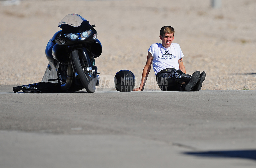Oct. 29, 2011; Las Vegas, NV, USA: NHRA pro stock motorcycle rider Paul Ray Jr during qualifying for the Big O Tires Nationals at The Strip at Las Vegas Motor Speedway. Mandatory Credit: Mark J. Rebilas-