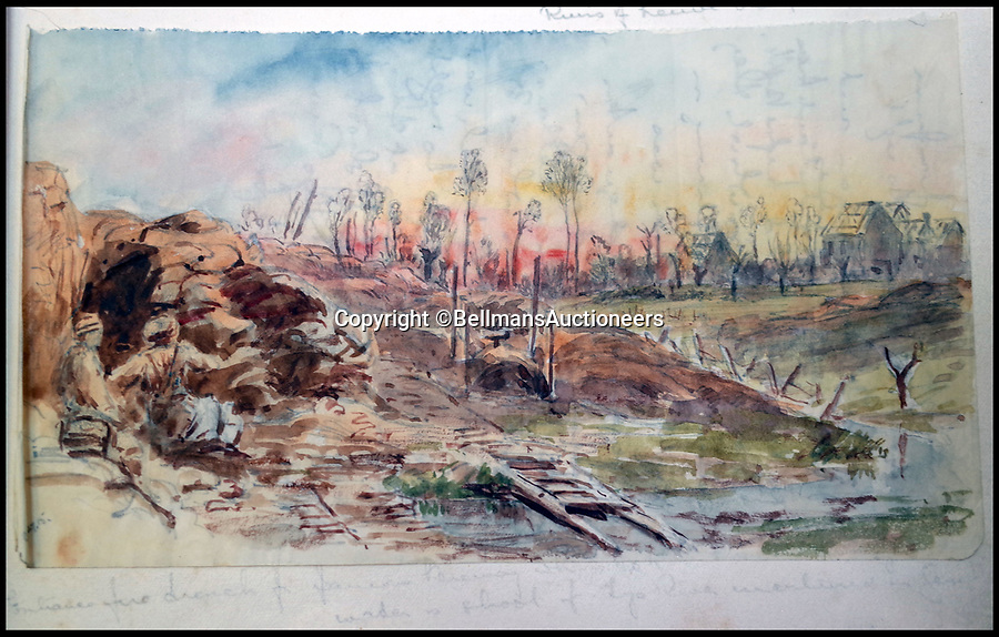 BNPS.co.uk (01202 558833)<br /> Pic: BellmansAuctioneers/BNPS<br /> <br /> Another view of soldiers in a devastated landscape.<br /> <br /> A collection of beautiful First War watercolours that offer a fascinating glimpse into one man's life in the trenches has emerged for sale a century later.<br /> <br /> Talented artist Finlay Mackinnon, who exhibited multiple times at the prestigious Royal Academy, answered the call to sign up in 1914 and spent almost all of the First World War fighting in France.<br /> <br /> But in his free time on the front he did what he loved best, capturing life in the trenches and also the beauty of their bleak surroundings in his pictures.<br /> <br /> Bellmans Auctioneers, who are selling the album of artwork, know little about the provenance of the album, which is expected to fetch £4,000 at auction.
