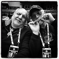 NEW YORK, NY - OCTOBER 31:  iPhone Instagram of legendary photographers Mickey Palmer and John Iacono pose for a picture before Game 4 of the World Series between the Kansas City Royals and New York Mets at Citi Field on October 31, 2015 in the Flushing neighborhood of the Queens borough of New York City. (Photo by Brad Mangin)