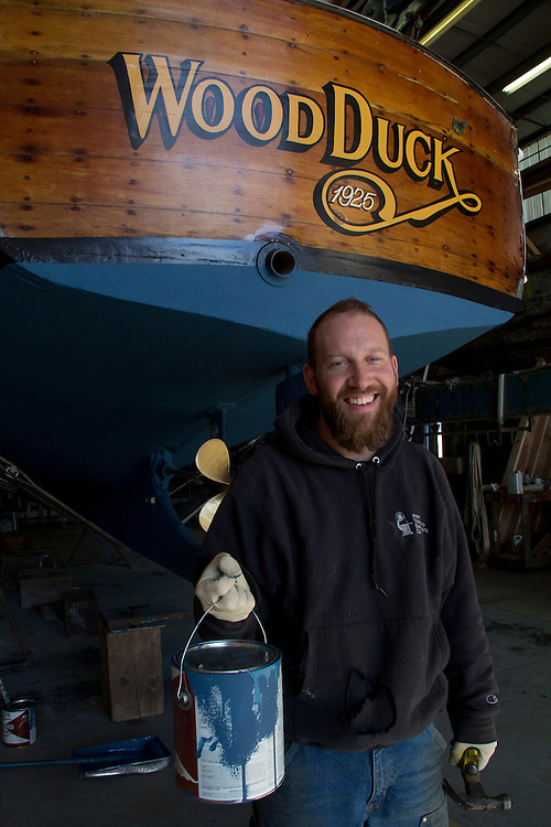Port Townsend, Boat Haven Marina, Jeff Galey, working on the classic yacht, Wood Duck, Port Townsend Shipwrights Cooperative, Port of Port Townsend, Jefferson County, Olympic Peninsula, Puget Sound, Washington State, Pacific Northwest, USA,