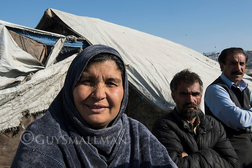 Afghan refugees at the Niandari 'Near Statium' camp for displaced people. 9-1-13 Ruhgul the camp leader.