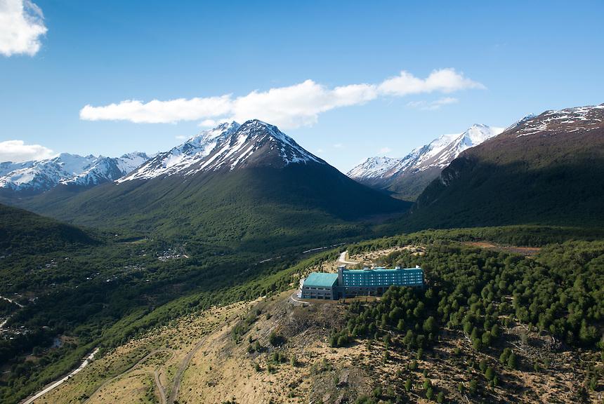 Helicopter flight over Ushuaia, tierra del Fuego, Patagonia, Argentina