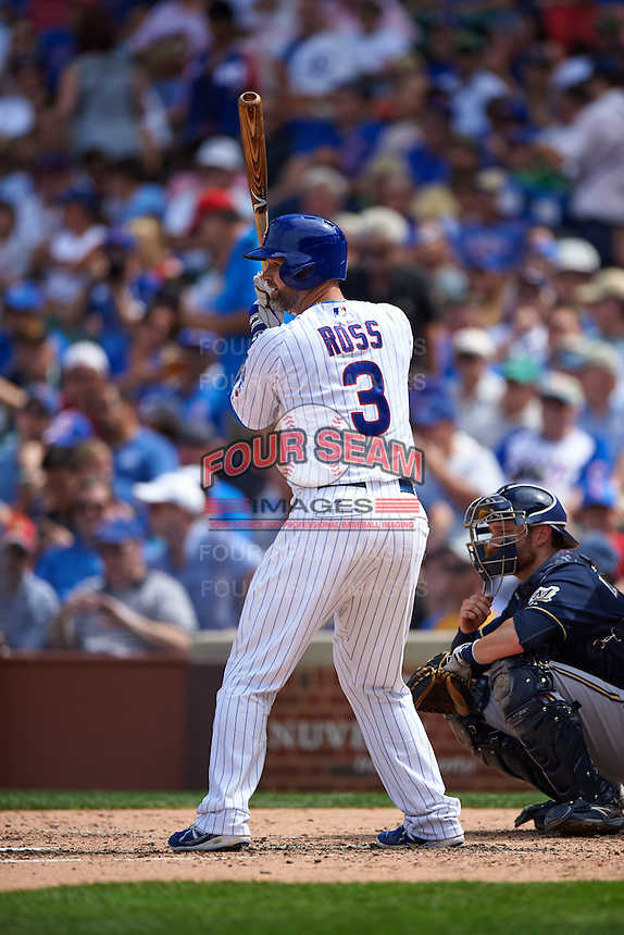 Chicago Cubs catcher David Ross (3) at bat during a game against the Milwaukee Brewers on August 13, 2015 at Wrigley Field in Chicago, Illinois.  Chicago defeated Milwaukee 9-2.  (Mike Janes/Four Seam Images)