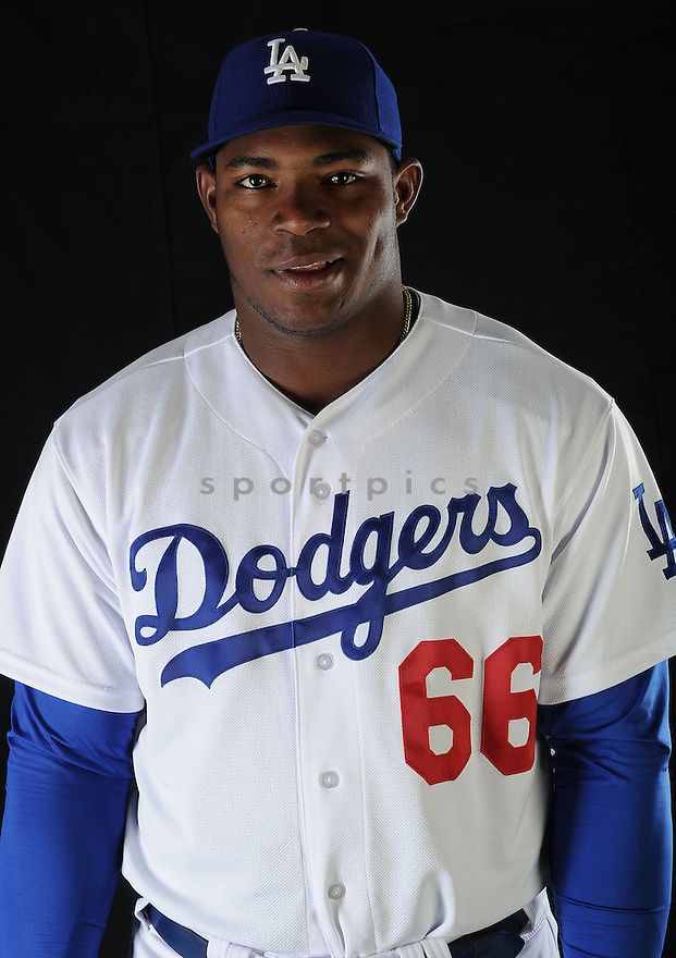 LA Dodgers  Yasiel Puig (66) at media photo day on February 17, 2013 during spring training in Glendale, AZ.