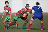 Tevita Nabura makes a run at Todd Petrie. Counties Manukau Premier Club Rugby game between Waiuku and Ardmore Marist, played at Waiuku on Saturday June 4th 2016. Ardmore Marist won 46 - 3 after leading 39 - 3 at Halftime. Photo by Richard Spranger.