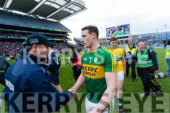 Jim Gavin Dublin Manager congratulates Mark Griffin. Kerry players celebrate after defeating Dublin at the National League Final in Croke Park on Sunday.