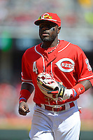 Cincinnati Reds second baseman Brandon Phillips #4 during a game against the Miami Marlins at Great American Ball Park on April 20, 2013 in Cincinnati, Ohio.  Cincinnati defeated Miami 3-2 in 13 innings.  (Mike Janes/Four Seam Images)