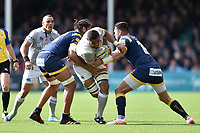 Taulupe Faletau of Bath Rugby takes on the Worcester Warriors defence. Aviva Premiership match, between Worcester Warriors and Bath Rugby on April 15, 2017 at Sixways Stadium in Worcester, England. Photo by: Patrick Khachfe / Onside Images
