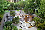 An inviting block full of terraces and platforms, Forecourt Fountain proudly nods to the region's abundant waterfalls. Designed by Angela Danadijeva for Lawrence Halprin and Associates, the water fountain has been a popular downtown meeting destination for generations of Portlanders and visitors since its completion in 1971.<br /> <br /> In 1978, the fountain was renamed after Ira C. Keller, noted civic leader and first chairman of the Portland Development Commission.