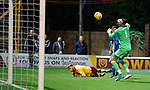 Louis Moult shoots towards keeper Joe Lewis who diverts the ball into the net for Motherwell's opener